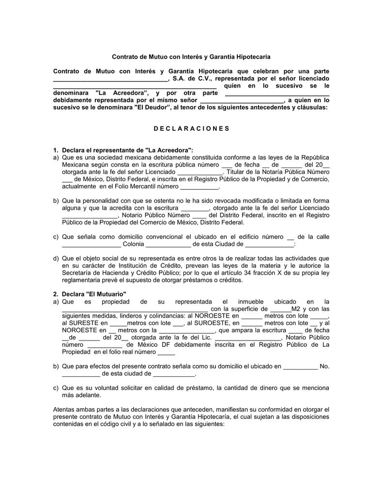 Cu l contrato con la hipoteca sitapati for Contrato de hipoteca