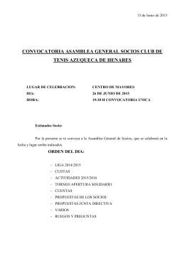 CONVOCATORIA SAMBLEA GENERAL SOCIOS CLUB DE TENIS