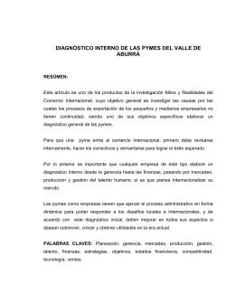 DIAGNÓSTICO INTERNO DE LAS PYMES DEL VALLE DE ABURRÁ