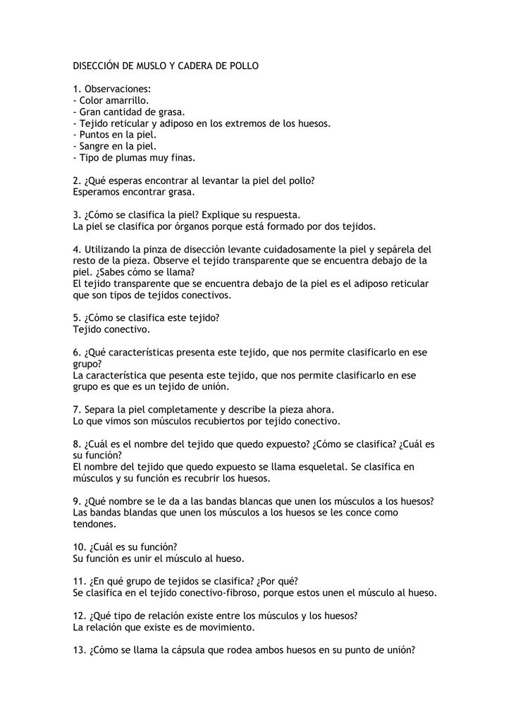 DISECCIÓN DE MUSLO Y CADERA DE POLLO