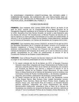 EL  HONORABLE  CONGRESO  CONSTITUCIONAL  DEL ... SOBERANO DE COLIMA,  EN  EJERCICIO  DE ...