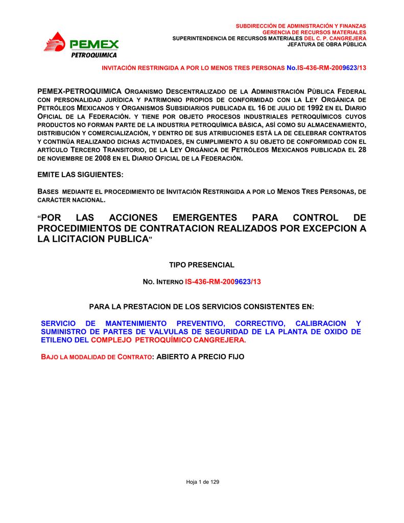 2009623-13 BASE LEY PEMEX SERVICIO VALVULAS DE