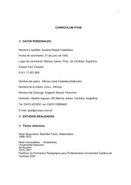 DATOS PERSONALES: Nombre y Apellido: Susana Raquel Castellano.