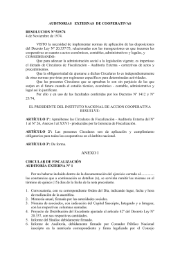 AUDITORIAS EXTERNAS DE COOPERATIVAS