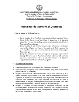 Requisitos de Admisión al Doctorado