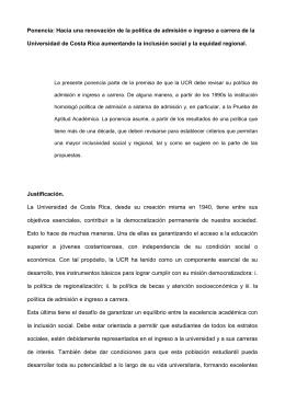 Ponencia política de admisión e ingreso a carrera UCR Alberto