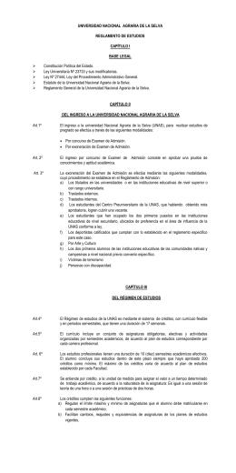UNIVERSIDAD NACIONAL  AGRARIA DE LA SELVA  REGLAMENTO DE ESTUDIOS CAPÍTULO I