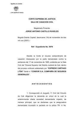(2001) Corte Suprema de Justicia – Expediente No. 05978
