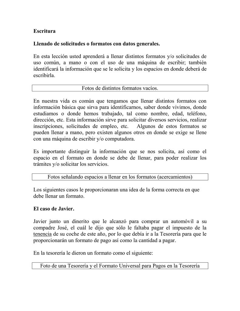 Escritura Llenado De Solicitudes O Formatos Con Datos Generales