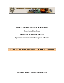 MANUAL DE PROCEDIMIENTOS PARA TUTORES