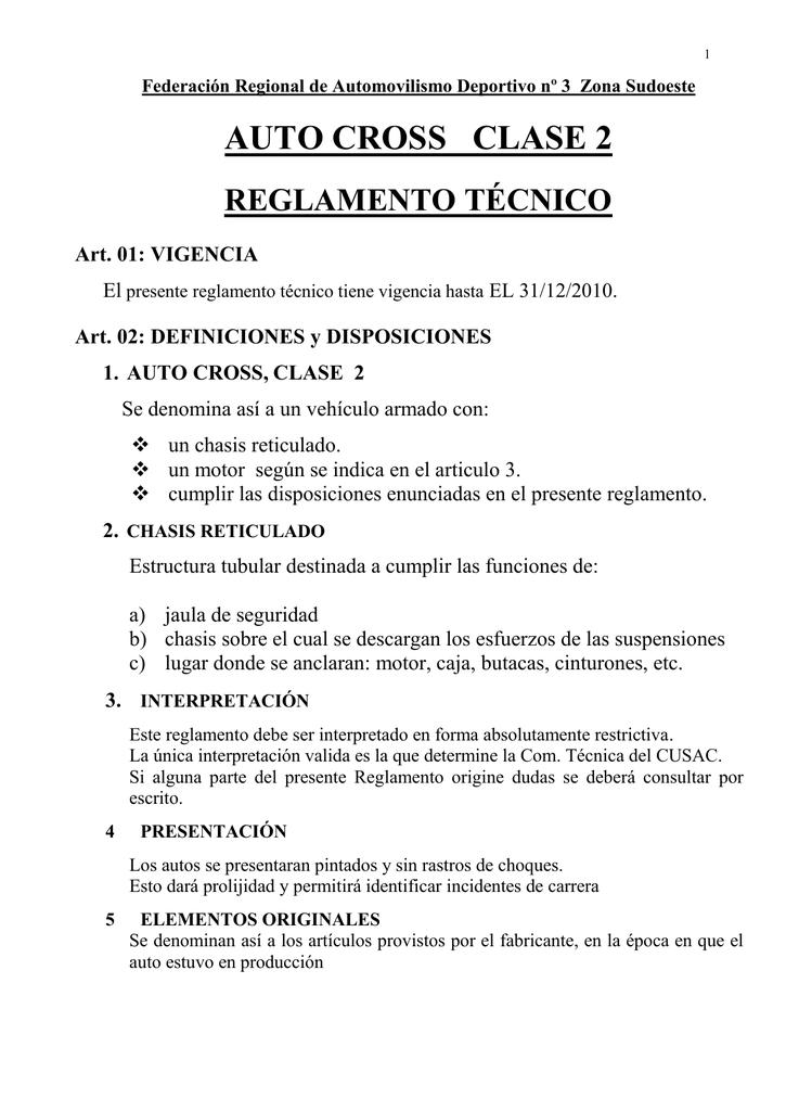 Auto Cross Clase 2 Reglamento Técnico