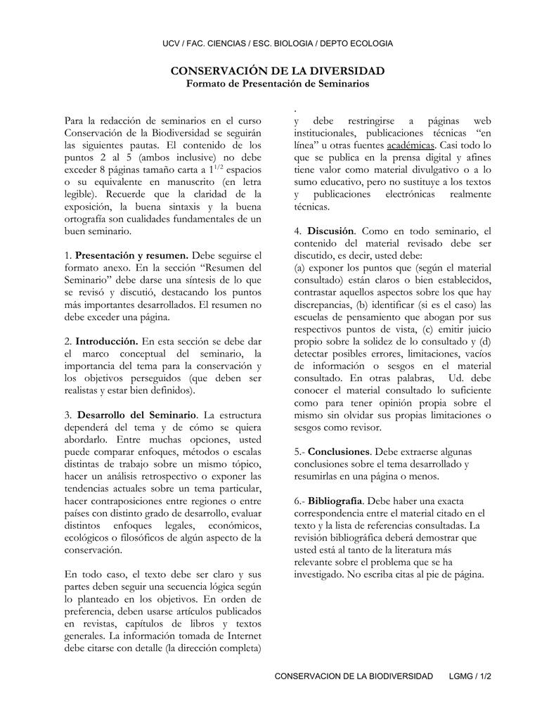 Formato de Presentación de Seminarios de Conservación