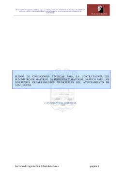 Pliego de prescripciones técnicas para el suministro de material de