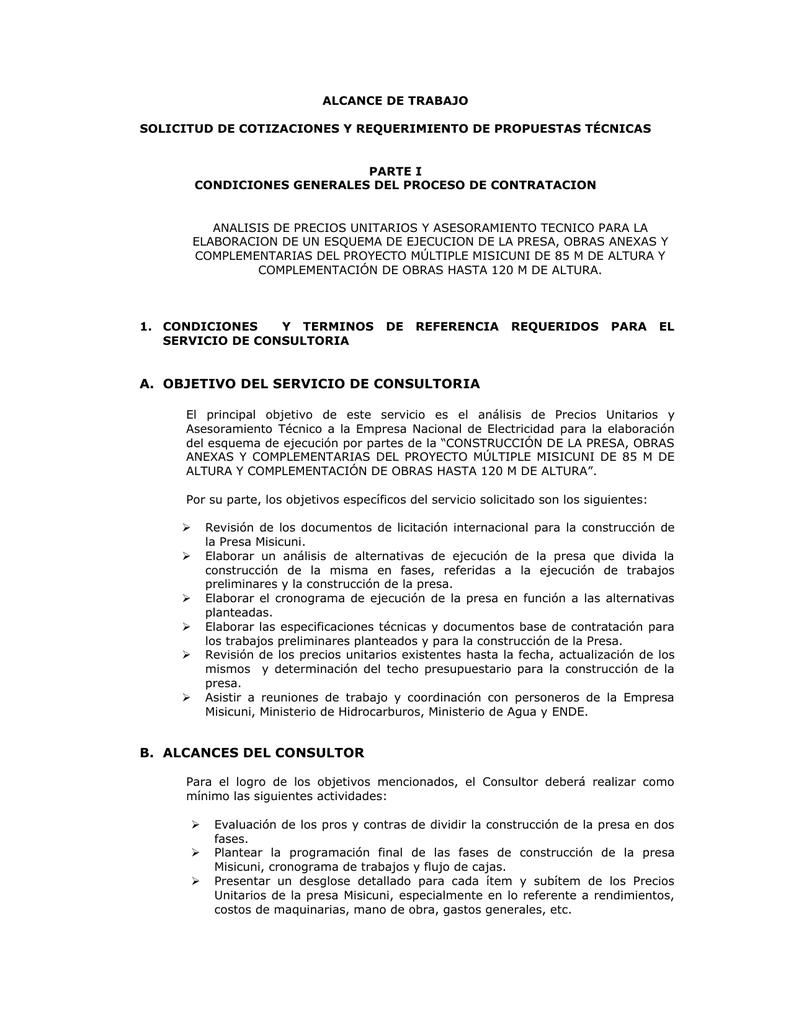 ALCANCE DE TRABAJO SOLICITUD DE COTIZACIONES Y REQUERIMIENTO DE ...