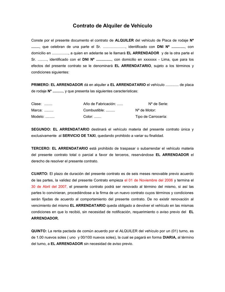 Contrato de alquiler de vehiculo tramite en peru for Contrato documento
