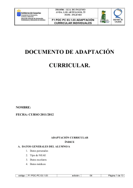 DOCUMENTO DE ADAPTACIÓN CURRICULAR. NOMBRE: