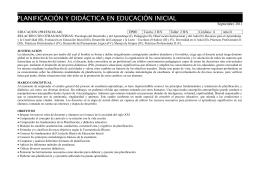 PLANIFICACIÓN Y DIDÁCTICA EN EDUCACIÓN INICIAL Septiembre 2011  EDUCACIÓN (PREESCOLAR)