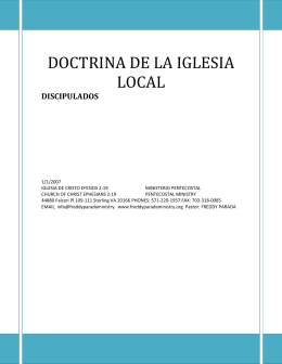 DOCTRINA DE LA IGLESIA LOCAL