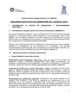 RESUMEN EJECUTIVO DE RENDICIÓN DE CUENTAS 2014