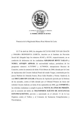 Ponencia de la Magistrada Blanca Rosa Mármol de León. El 27 de