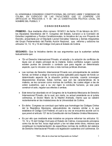 EL HONORABLE CONGRESO CONSTITUCIONAL DEL ESTADO LIBRE Y SOBERANO DE