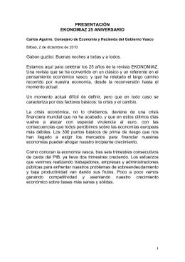 25 Aniversario EKONOMIAZ. Presentación
