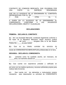 Contrato De Comision Por Venta De Bien Inmueble Que