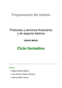 Ciclo formativo  Programación del módulo Productos y servicios financieros
