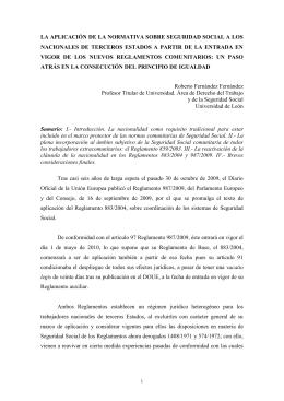 la aplicación de las normas de coordinación comunitarias sobre