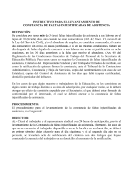 CONSTANCIAS (FORMATOS) DE FALTAS INJUSTIFICADAS DE