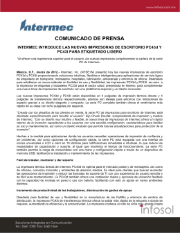 COMUNICADO DE PRENSA INTERMEC INTRODUCE LAS