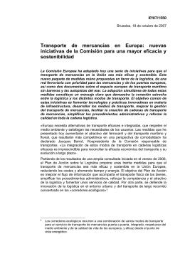 Transporte  de  mercancías  en  Europa: ... iniciativas de la Comisión para una mayor eficacia y sostenibilidad