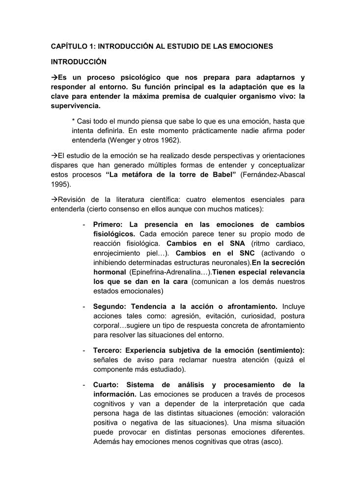 CAPÍTULO 1: INTRODUCCIÓN AL ESTUDIO DE LAS EMOCIONES