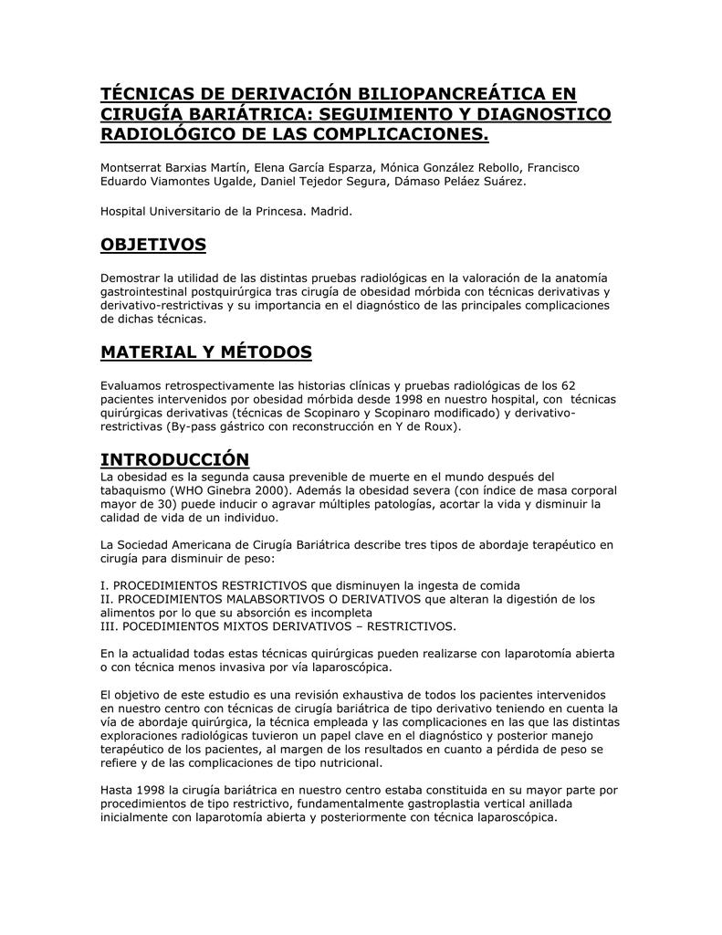 seguimiento y diagnostico radiológico de las complicaciones.