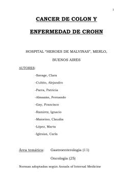 """CANCER DE COLON Y ENFERMEDAD DE CROHN  HOSPITAL """"HEROES DE MALVINAS"""", MERLO,"""