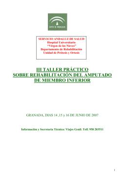 III TALLER PRÁCTICO SOBRE REHABILITACIÓN DEL AMPUTADO