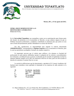 CARTA Criminologìa - Universidad Tepantlato