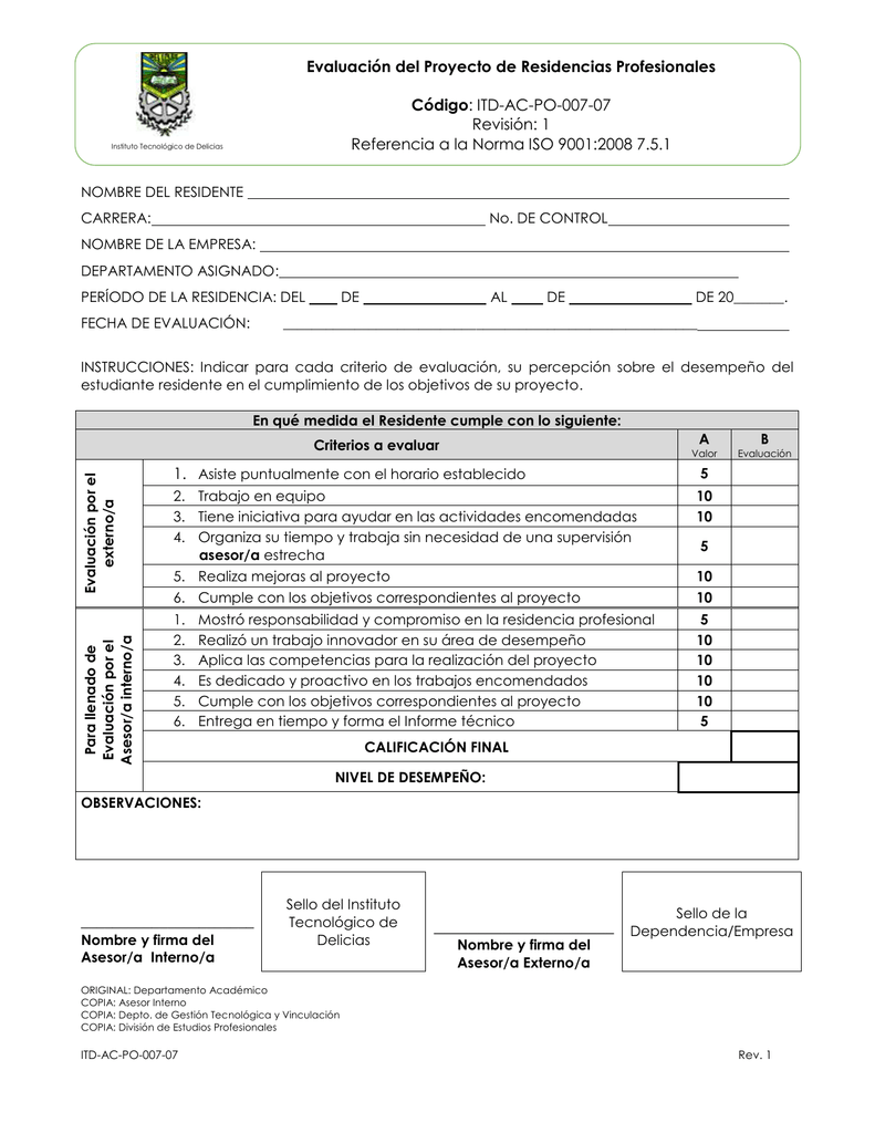 Plantilla Evaluación de Residencia - Instituto Tecnológico de Delicias