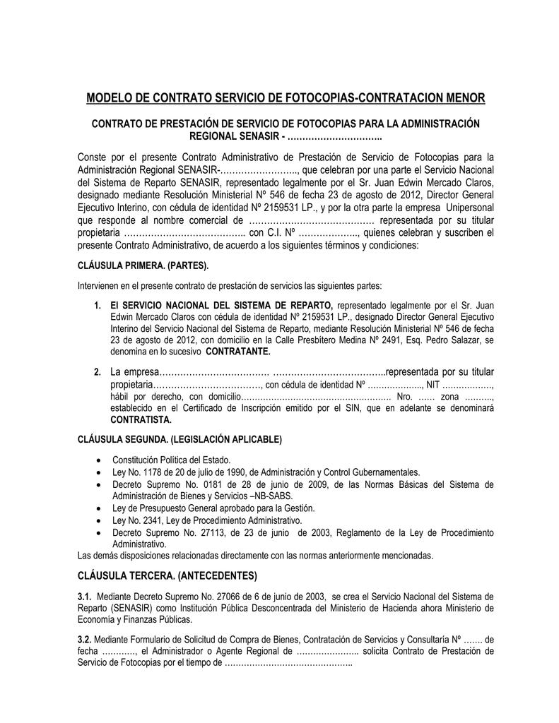 modelo contrato de servicios de fotocopias