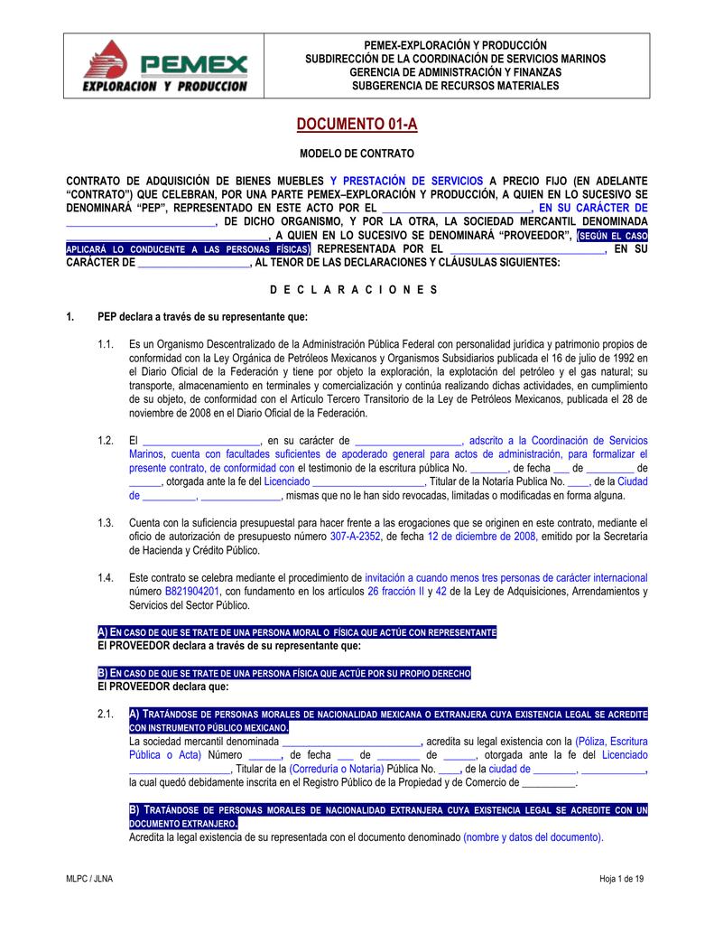 Modelo de contrato - PEMEX Exploración y Producción PEP