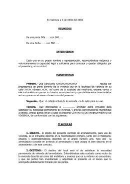 Contrato De Arrendamiento De Vivienda Habitual