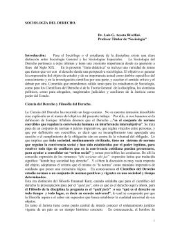 """SOCIOLOGÍA DEL DERECHO.  Dr. Luis G. Acosta Rivellini. Profesor Titular de """"Sociología"""""""