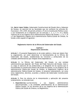 Reglamento Interior Oficina del Gobernador del Estado
