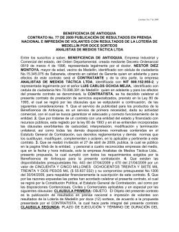 MINUTA DEL CONTRATO - Loteria de Medellin