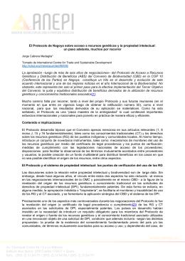 El Protocolo de Nagoya sobre acceso a recursos genéticos