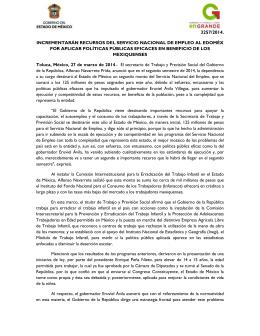 3257/2014. INCREMENTARÁN RECURSOS DEL SERVICIO