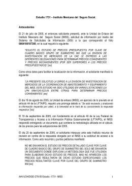 Estudio 1731 – Instituto Mexicano del Seguro Social. Antecedentes
