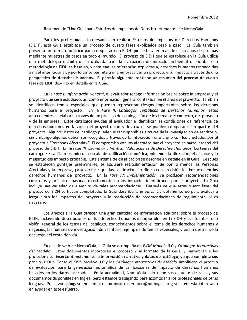 """Resumen de """"Una Guía para Estudios de Impactos de Derechos"""