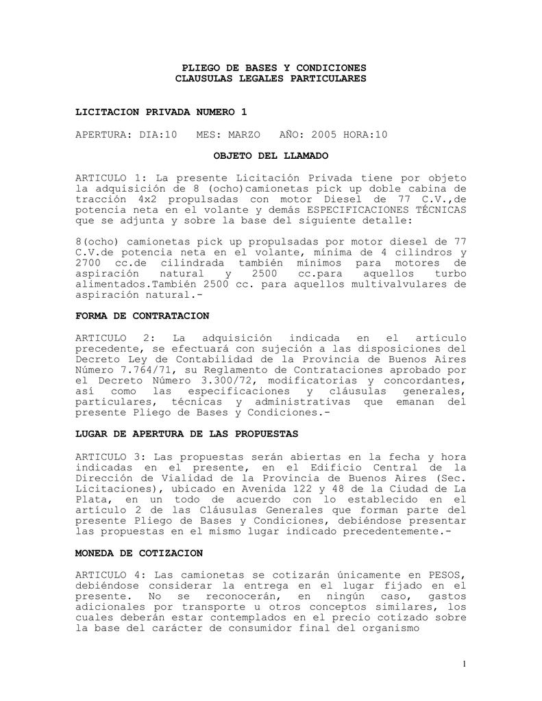 PLIEGO DE BASES Y CONDICIONES CLAUSULAS LEGALES PARTICULARES ...