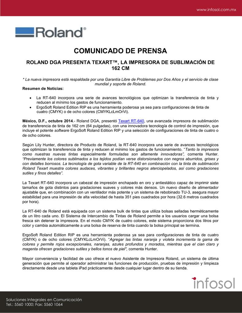 COMUNICADO DE PRENSA ROLAND DGA PRESENTA TEXART